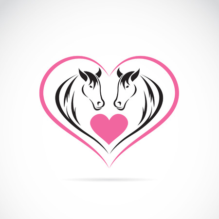 image of two horses on a heart shape Vector