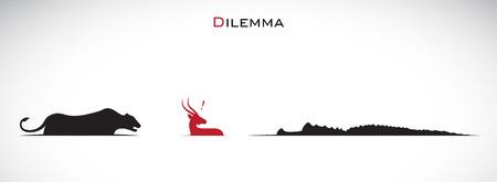 dilemma: Vector image of an tiger, deer, crocodiles. Dilemma