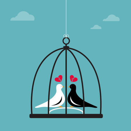 sorrowfully: Vector image of two birds in a cage. Heartbroken Illustration