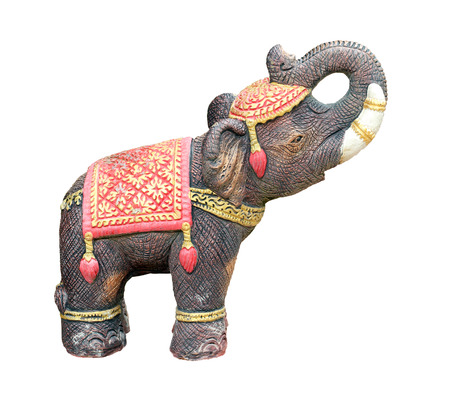 Elephant statue isolated on white background photo
