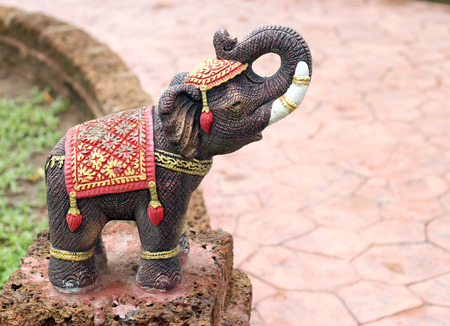 Elephant statues in the garden Taksin in Thailand. photo