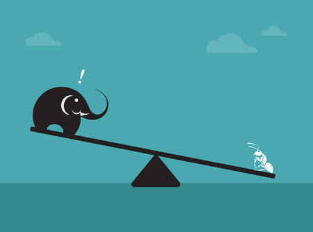 biased:  Vector image of an elephant and ant. Weighing concept