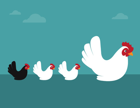 heterogeneous: Vector image of an hen and chicks. Different concepts
