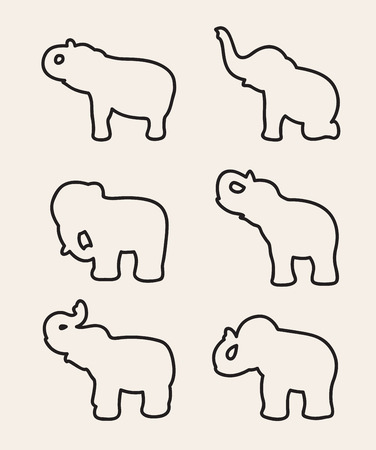 animals outline: image of an elephant on white background. Illustration