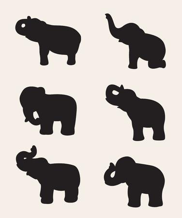 siluetas de elefantes: imagen de una silueta de elefante sobre fondo blanco.