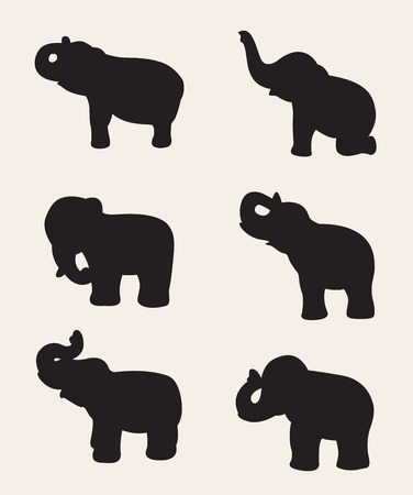 image of an elephant silhouette on white background. Illustration