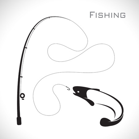 carp fishing: images of fishing rod and fish on white background