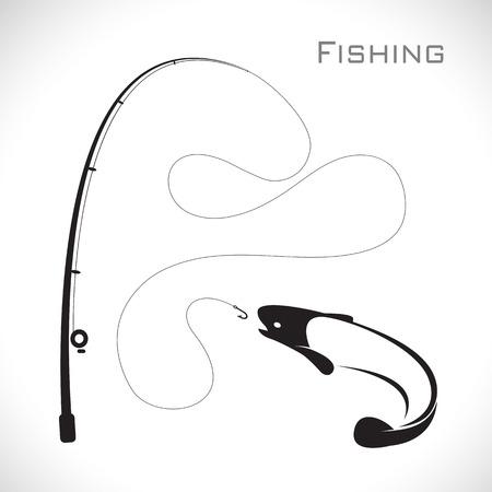 canna pesca: immagini di canna da pesca e pesce su sfondo bianco Vettoriali