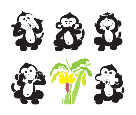 three object: group of monkeys and bananas on white background.