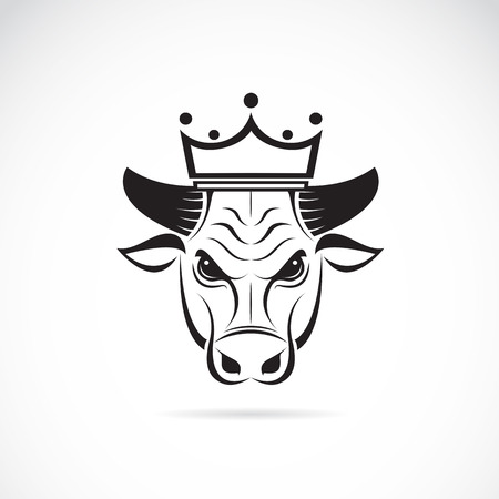 Vector image of a bull head wearing a crown on white background. Ilustração
