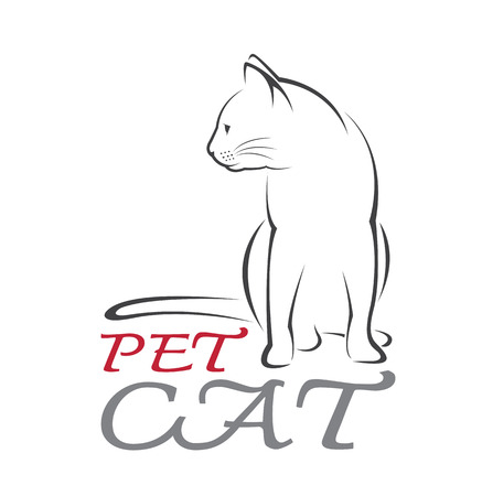 Vector image of an cat on white background. Stock Illustratie