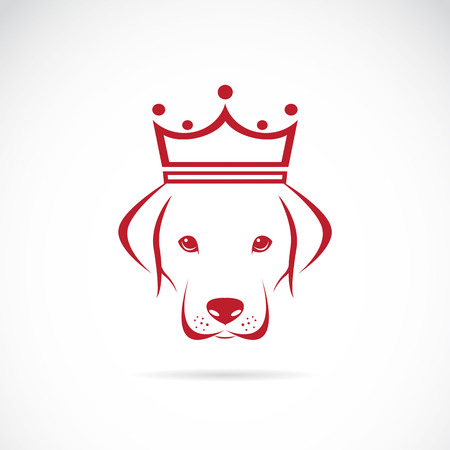 Vector image of a dog head wearing a crown on white background.