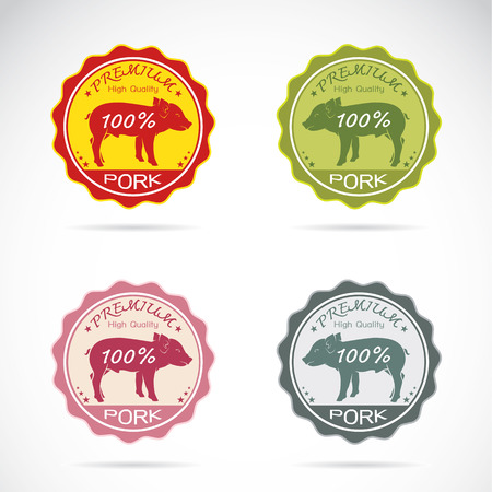 Set of vector pig label on white background Vector