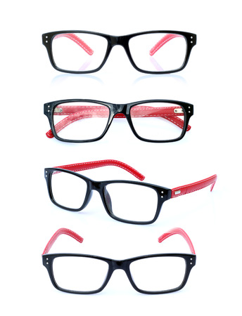 Collection of eye glasses isolated on a white background. photo