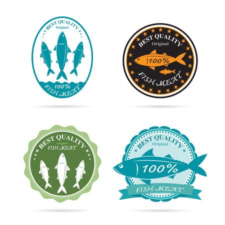 sardinas: Conjunto de vector de una etiqueta de peces en el fondo blanco