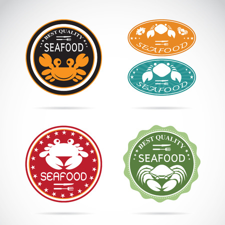 Set of vector an crab seafood label on white background Vector