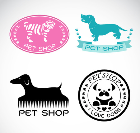Set of vector an pet shop label on white background, dog shop Vector