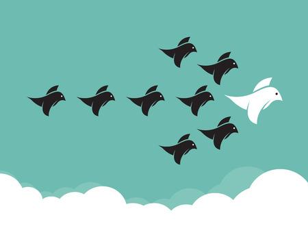 Flock of birds flying in the sky, Leadership concept Vector