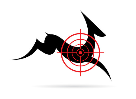 cervidae: Vector image of a deer target on a white background.