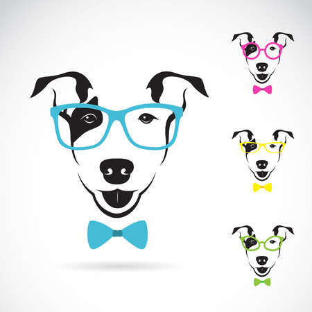 child and dog: Vector image of a dog (Bull terrier) glasses on white background. Fashion Illustration