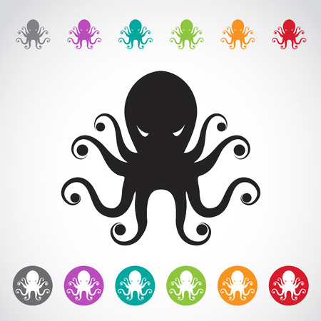 black giant: Vector image of an octopus on white background. Illustration