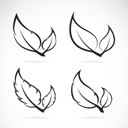 벡터 흰색 배경에 아이콘 설정 나뭇잎