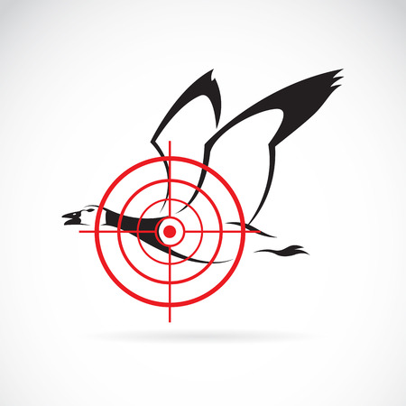 Vector image of a wild duck target on a white background. Vector