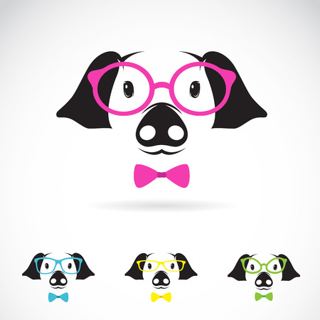 shemale: Vector image of a pig glasses on white background. Fashion Illustration