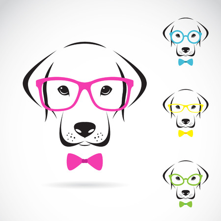 Vector images of dog labrador wearing glasses on white background. Stock Illustratie