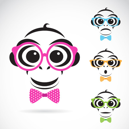 eye lens: Vector image of a monkey wearing glasses on white background. Fashion