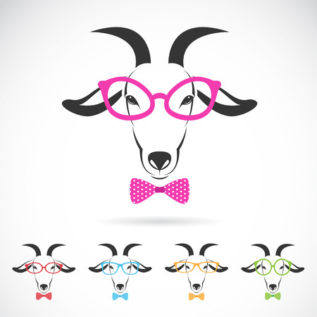 Vector images of a goat wearing glasses on white background Vector