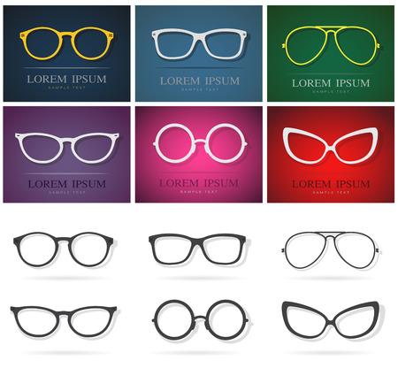 Vector groep van een glazen ontwerp. Mode brillen