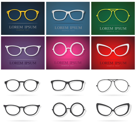 eyewear: Vector group of an glasses design. Fashion eyewear