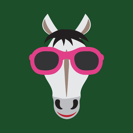 girl glasses: Vector image of a horse wearing glasses.