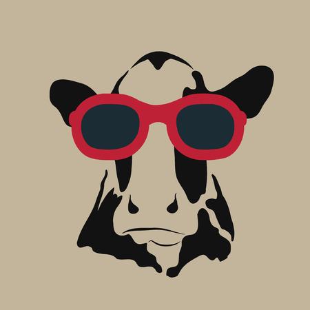 Vector beeld van een koe draagt een bril. Vector Illustratie