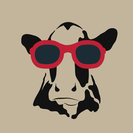 cow: Vector image of a cow wearing glasses.