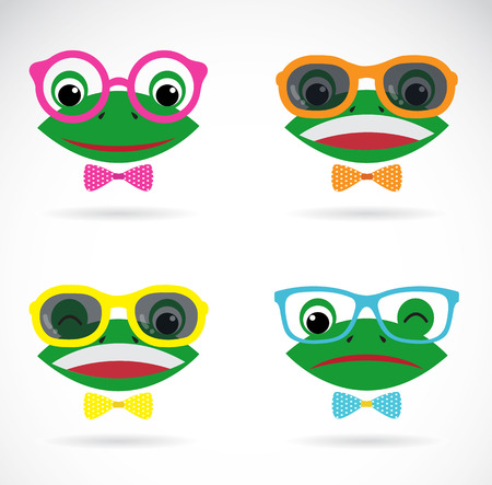 Vector image of a frog wear glasses on white background. Vector