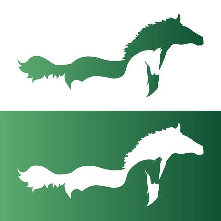 carreras de caballos: Vector de imagen de un dos caballos. Vectores