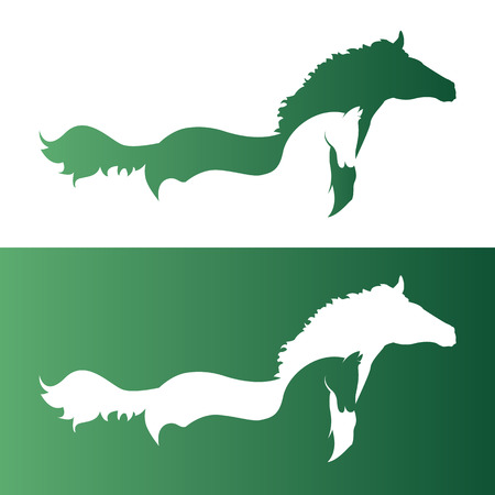 horse riding: Vector image of an two horse.