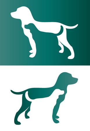 Vector image of an two dog. - Pet Vector