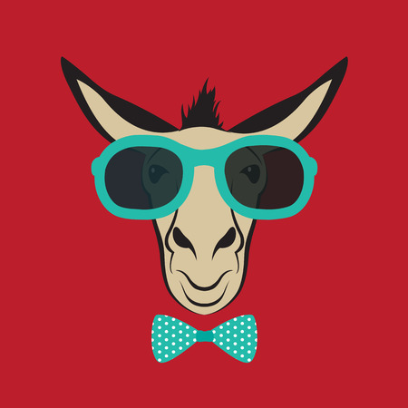 Vector image of a donkey wearing blue glasses. Vector