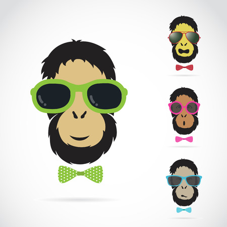 circus poster: Vector images of orangutan wearing sunglasses on white background.