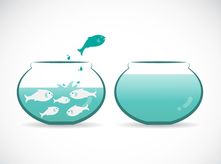 Vector image of an fish jumping out of aquarium. Freedom concept. Illustration