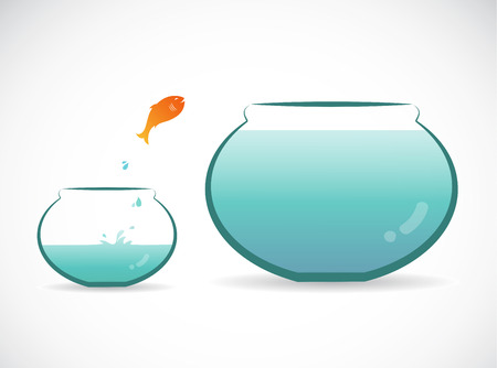 Vector image of an fish jumping out of aquarium. Freedom concept. Vector