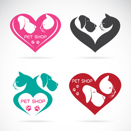 Vector image of an Dog and cat with heart on white background Stock Illustratie