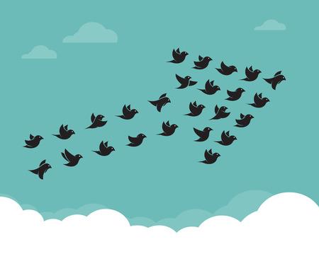 Schwarm Vögel fliegen in den Himmel in einen Pfeil, Teamwork-Konzept