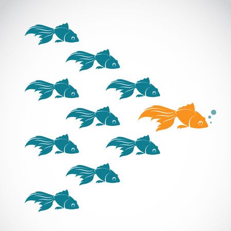 leadership abstract: Vector image of an goldfish showing leader individuality success. Leadership concept