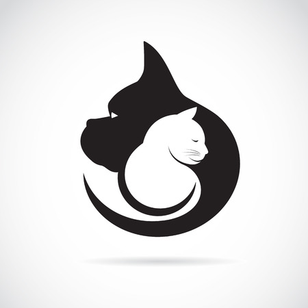 Vector image of an dog and cat on white background