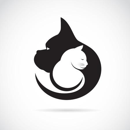 Vector Bild von einem Hund und Katze auf weißem Hintergrund