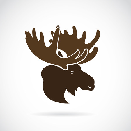 Vector images of moose deer head on a white background. Stock Illustratie